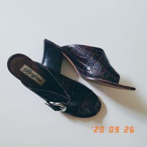 Brighton leather reptile print open toe brown heel